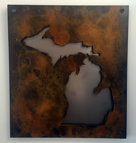 Michigan Rust Patina raised off of black steel - Arc Academy