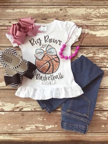 Big Bows and Basketball Goals Printed Tee