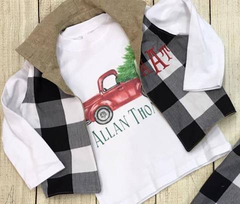 Boys Christmas Truck Shirt