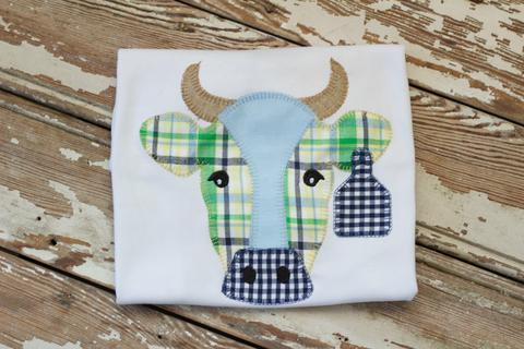 Boys Cow Applique Shirt
