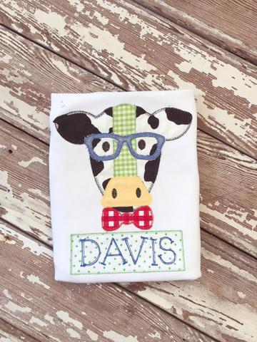 Boys Cow With Glasses Applique Shirt