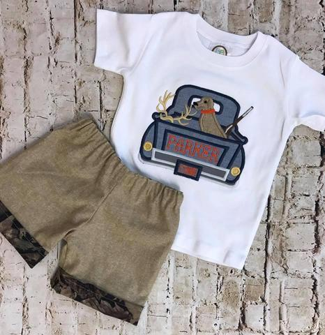 Boys Deer Hunting Truck Applique Shirt Only
