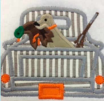 Boys Duck Hunting Truck Applique Shirt