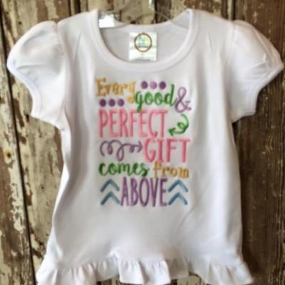 Every Good And Perfect Gift Applique Shirt