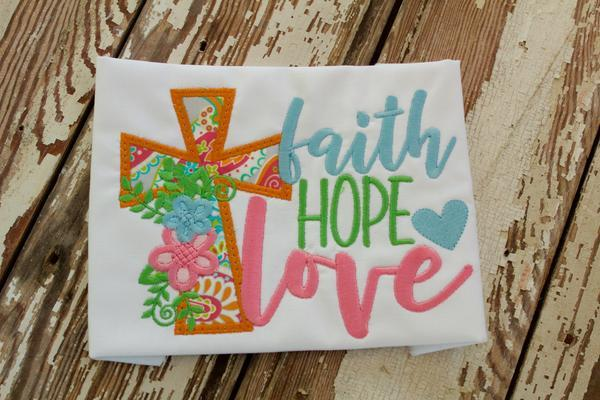 Faith Hope Love Applique Shirt