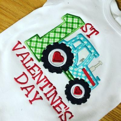 First Valentines Day Tractor Applique Shirt