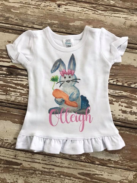 Girls Printed Easter Bunny Shirt