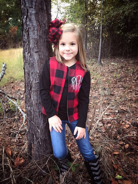 Madison Buffalo Plaid Monogrammed Vest