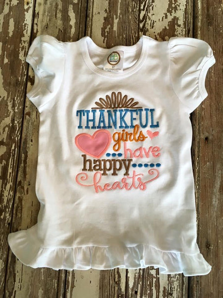 Thankful Girls Have Happy Hearts Applique Shirt