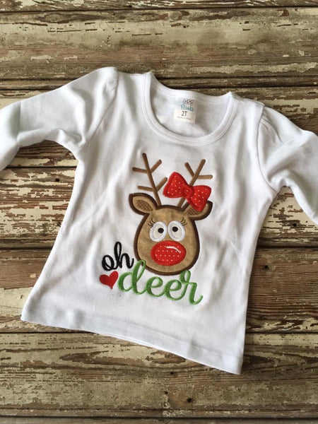 Bow Reindeer Applique
