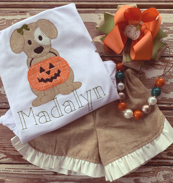 Puppy and Jack O Lantern Pumpkin Set