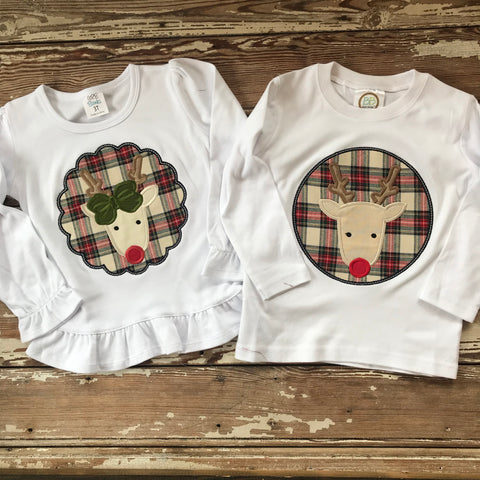 Boys plaid reindeer