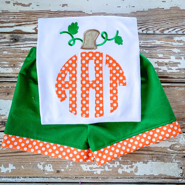 Boy's Orange monogram pumpkin Set