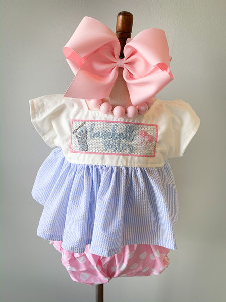 Baseball Sister Dress and Pinafore Set