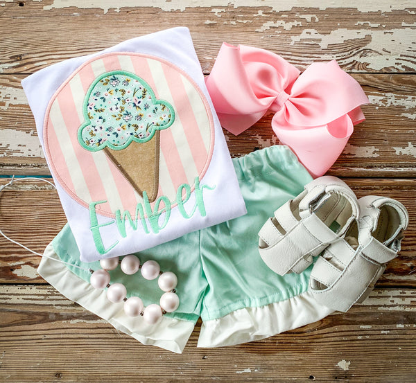 Mint Ice Cream Cone Set