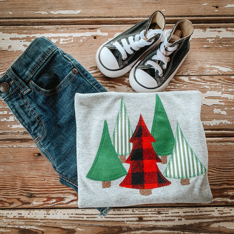Boy Christmas Buffalo Plaid Tree Shirt