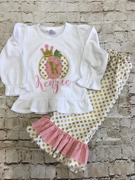 Pink And Gold Princess Pumpkin Applique Set