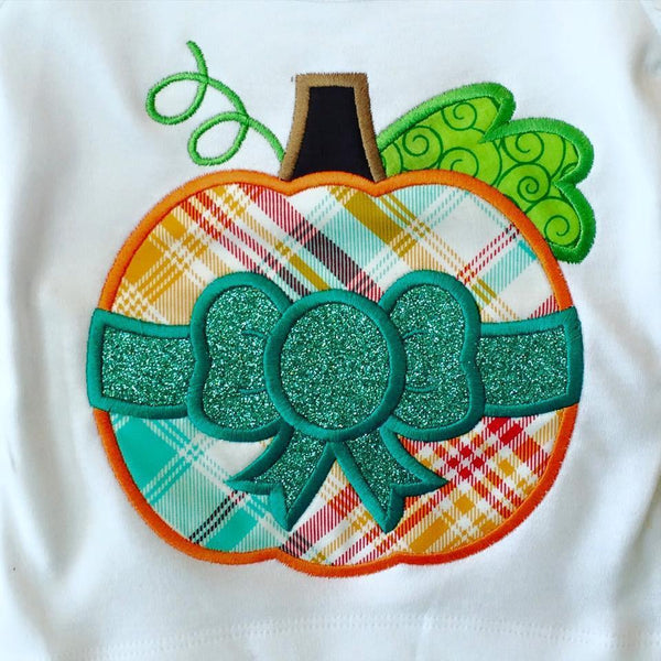 Plaid Pumpkin With Bow Applique Shirt