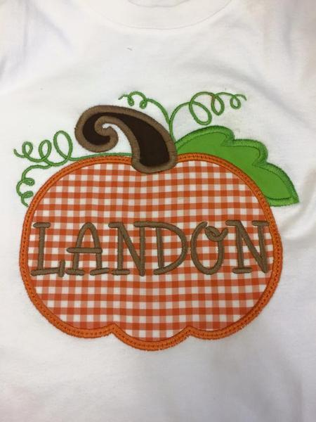 Pumpkin With Name Applique Shirt