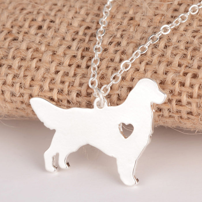 Silver Golden Retriever Necklace