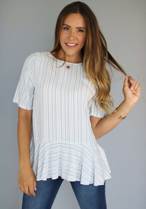 Lolly Striped Peplum (Chambray), Tops & Blouses, Miel Boutique   - Miel Boutique