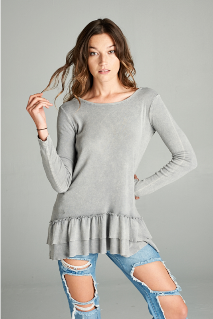 Heathered Ruffle Hem Top, , Miel Boutique   - Miel Boutique