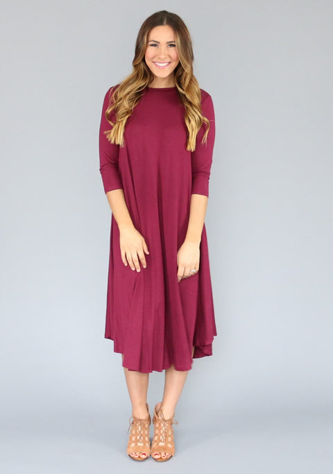 Wine Swing Dress, dresses and skirts, Miel Boutique   - Miel Boutique