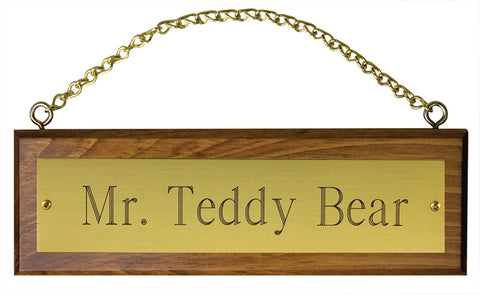 Wooden Stall Sign with Brass Plate and Chain