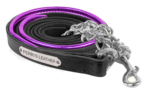 Metallic Padded Leather Lead W/Chain