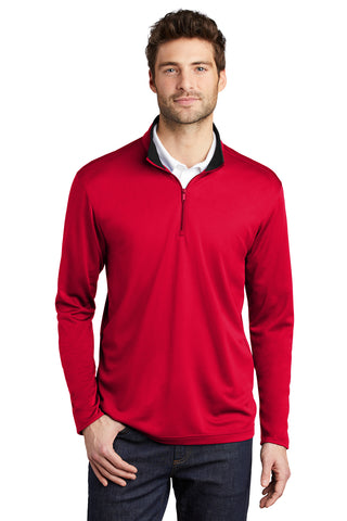Men's Port Authority ® Silk Touch ™ Performance 1/4-Zip - Contrasting Collar