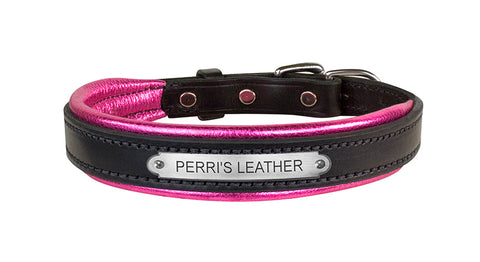 Padded Leather Metallic Dog Collar