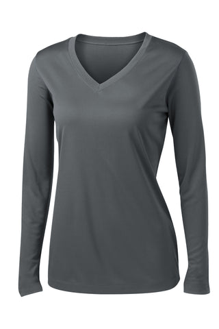 Ladies V-Neck Moisture Wicking Sport-Tek® Long Sleeve Competitor Sizes 2XL-4XL
