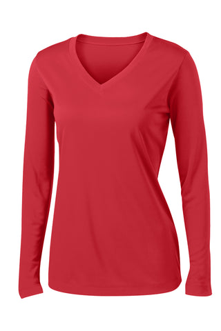 Ladies V-Neck Moisture Wicking Sport-Tek® Long Sleeve Competitor™