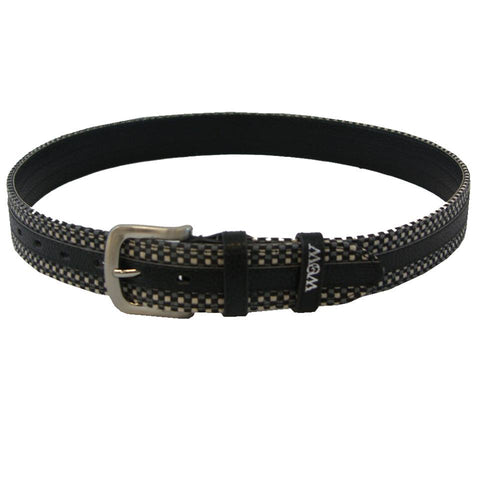 Woven Black Leather Belt