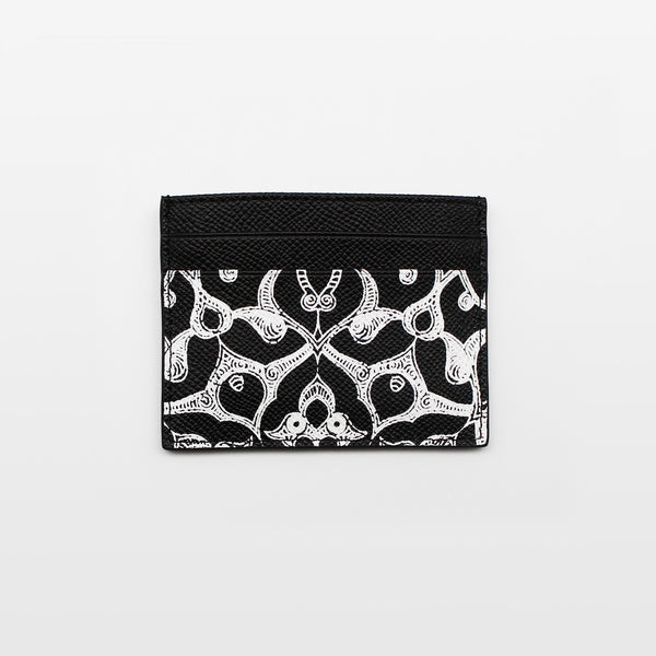 Printed leather Arabic card holder