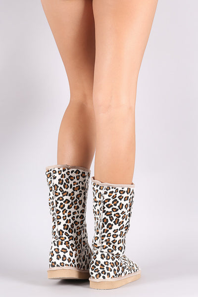 Miss Me Leopard Round Toe Mid Calf Boot