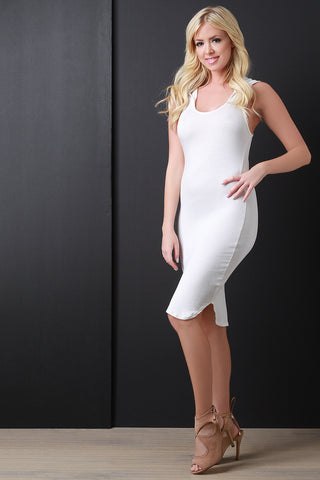 Sleeveless Round Hem Hoodie Dress