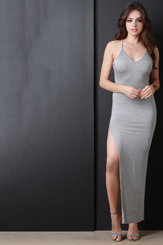 Solid Deep V High Slit Maxi Dress