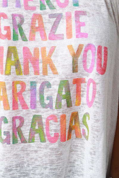 Thank You Graphic Print Tank Top