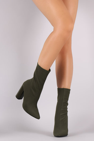 Fitted Pointy Toe Chunky Heeled Boots
