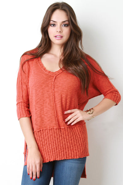 Reversed Look V Neck Rib Knit Sweater
