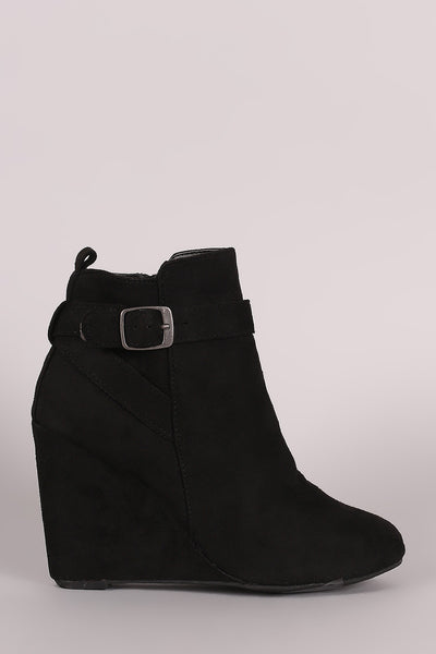 Bamboo Suede Strappy Wedge Booties