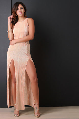 Wrinkled Double High Slit Maxi Dress