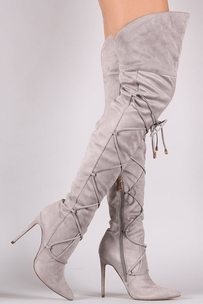Lace Front Pointy Toe OTK Stiletto Boots