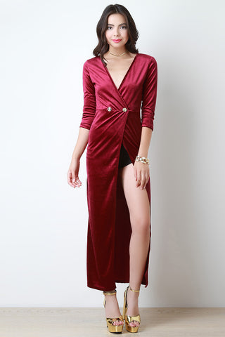 Velvet Surplice Slit Maxi Dress