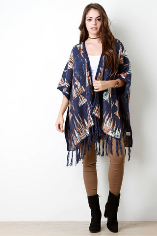 The Great Tribe Loose Knit Open Front Poncho