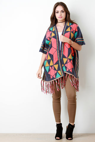Complex Star Loose Knit Short Sleeve Poncho