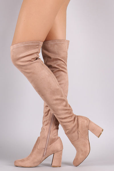 Shoe Republic LA Fitted Suede Block Heeled Over-The-Knee Boots