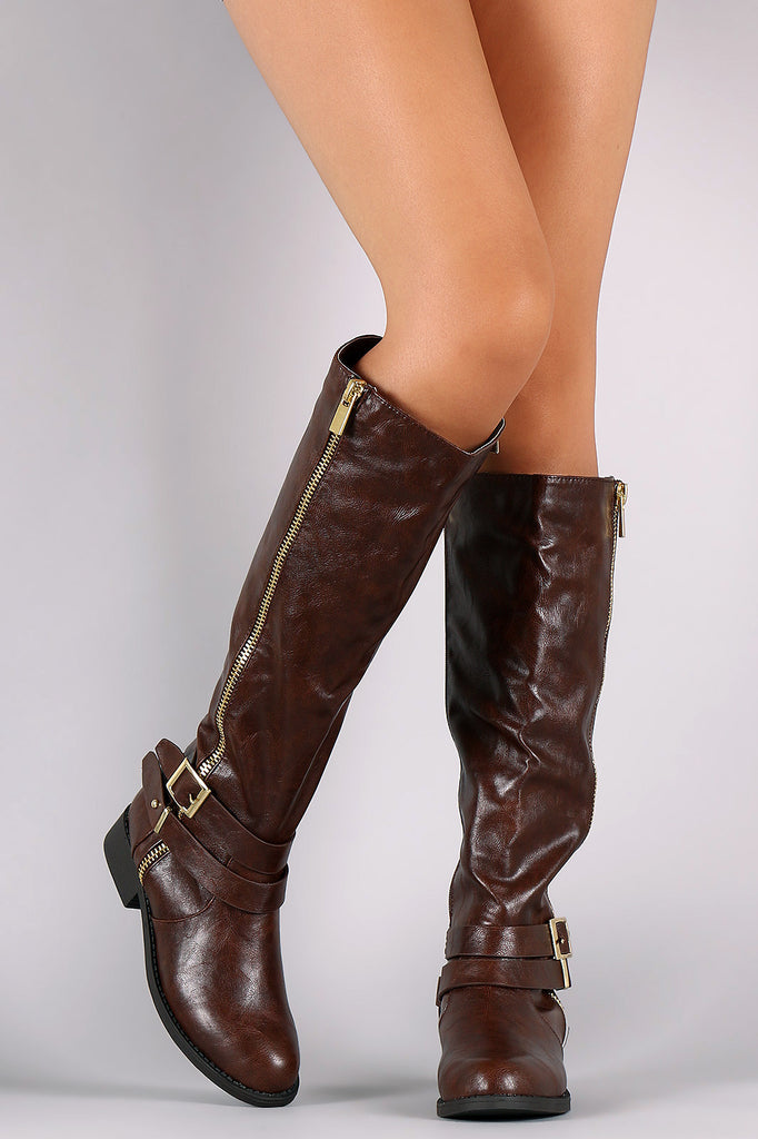 Double Strap Zipper Accent Riding Boots