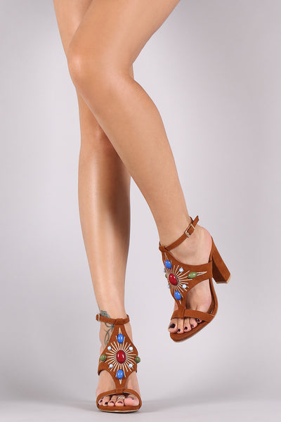 Bamboo Suede Stone Embellished Shield Chunky Heel